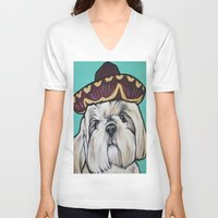 shih tzu V-neck T-shirts featuring Mimosa the Shih Tzu by Cheney Beshara