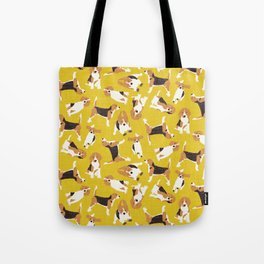 beagle scatter yellow Tote Bag