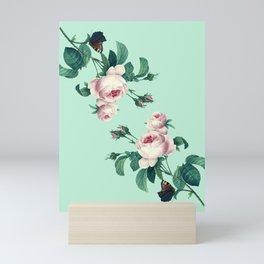 Roses Mint Green + Pink Mini Art Print