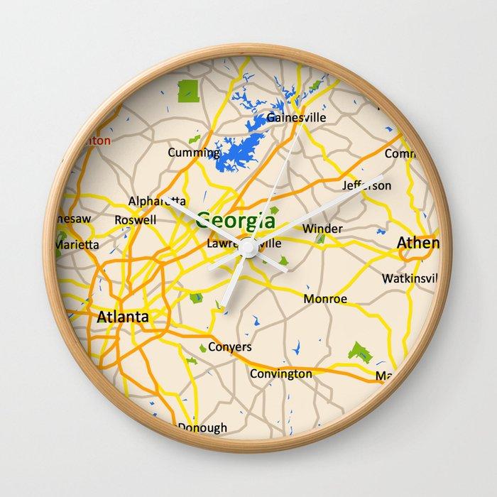 Georgia Map Design Usa Map Wall Clock By Efratul Society6