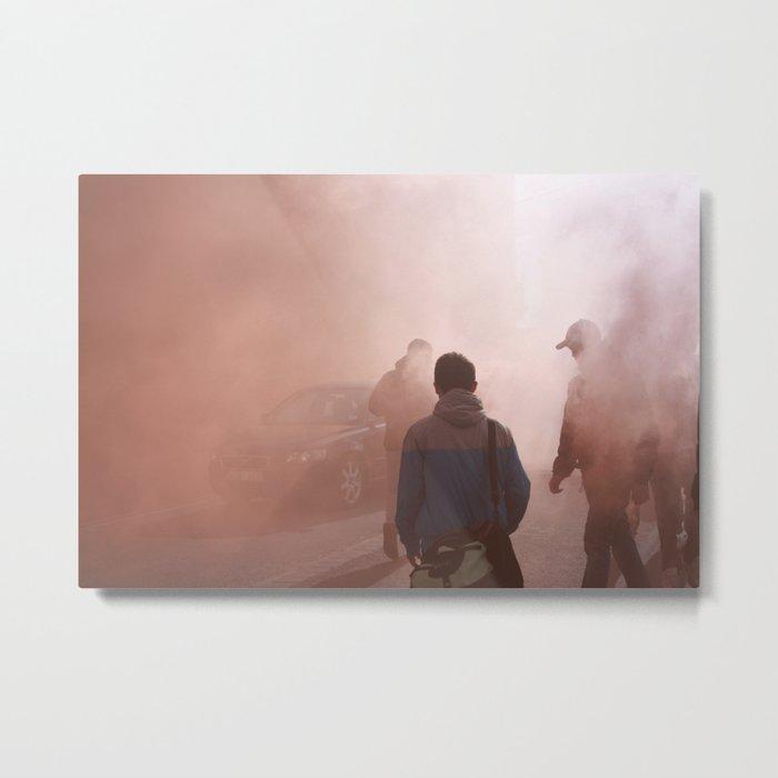 Red Smoke Streets Metal Print