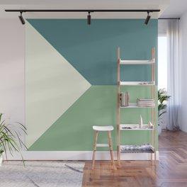 Green Blue Cream Abstract Geometric Art Wall Mural