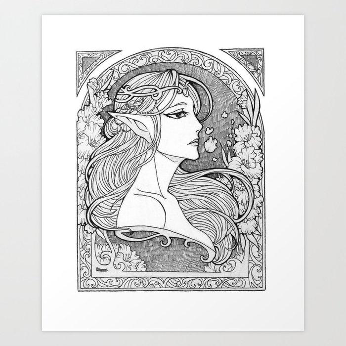 Art nouveau elf drawing black and white art print