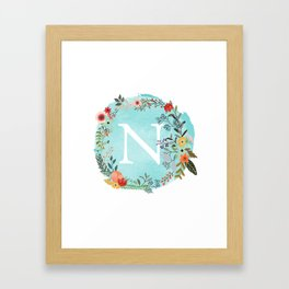 Personalized Monogram Initial Letter N Blue Watercolor Flower Wreath Artwork Framed Art Print