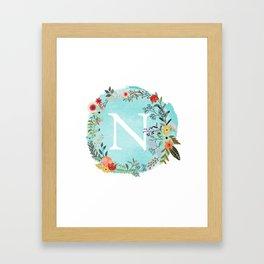 Personalized Monogram Initial Letter N Blue Watercolor Flower Wreath Artwork Framed Art Print