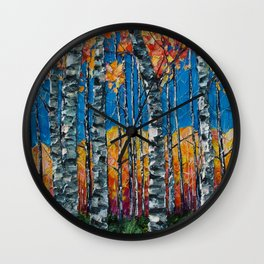 Colorado Aspen Grove Palette Knife Painting  Wall Clock