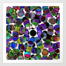 Cluttered Circles III - Abstract, Geometric, Pastel Coloured, Circle Patterned Artwork Art Print