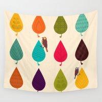 leaves Wall Tapestries featuring Leaves by Kakel