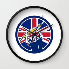 British Electrician Union Jack Flag icon Wall Clock