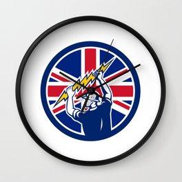 British Electrician Union Jack Flag icon Wall Clock