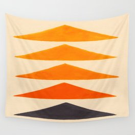 Vintage Scandinavian Orange Geometric Triangle Pattern Wall Tapestry