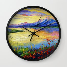 Flowers on the shore of the lake Wall Clock