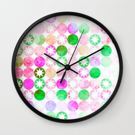Grunge Pink & Green Dots with Star Bursts Wall Clock