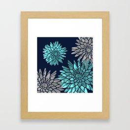 Floral Chrysanthemum Modern Navy Aqua Framed Art Print