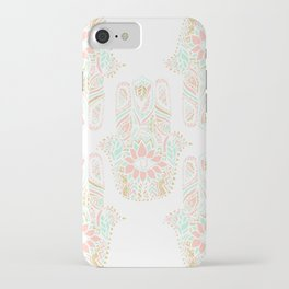 Modern girly pink mint gold Hamsa hand of fatima iPhone Case