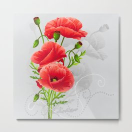 Artistic Red Poppies Metal Print