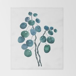 Chinese money plant watercolor Throw Blanket