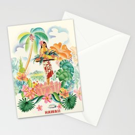Vintage Hawaiian Travel Poster Stationery Cards