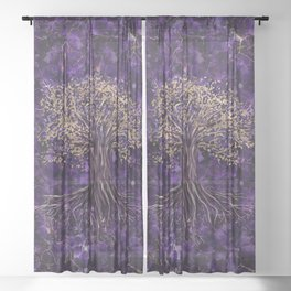 Tree of life -Yggdrasil Amethyst and Gold Sheer Curtain