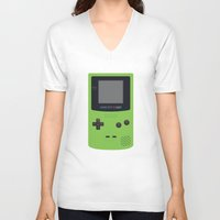 gameboy V-neck T-shirts featuring GAMEBOY Color - Green by Cedric S Touati