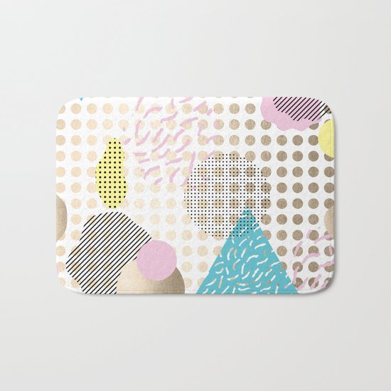 Simply Metallic Memphis Dots Bath Mat
