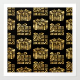 Golden Christmas Present Decor Art Print