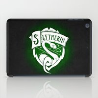 slytherin iPad Cases featuring White Slytherin Crest by Sharayah Mitchell