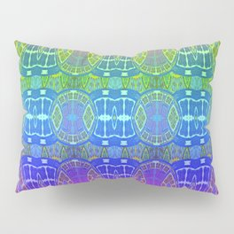 Glowing African Vintage Tribal Pink & Aqua Print Pillow Sham
