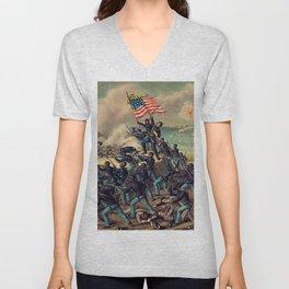 African American Civil War Troops Storming Fort Wagner Landscape Unisex V-Neck