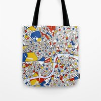 london Tote Bags featuring London by Mondrian Maps
