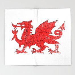 Welsh Dragon With Grunge Throw Blanket