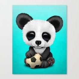Cute Baby Panda With Football Soccer Ball Canvas Print
