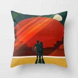 THE MOONS OF MARS - Phobos & Deimos | Space | X | Retro | Vintage | Futurism | Sci-Fi | Two Throw Pillow