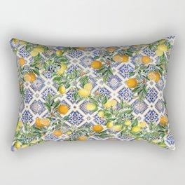 Bloomartgallery_Blue mediterranean citrus lemon orange pattern Rectangular Pillow