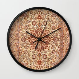 Persia Isfahan 19th Century Authentic Colorful Muted Cream Blush Tan Vintage Patterns Wall Clock