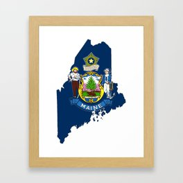 Maine Map with Flag of Maine Framed Art Print