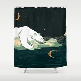 Polar Bear and the Moon Shower Curtain
