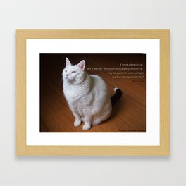 Cat with Mark Twain quote Framed Art Print