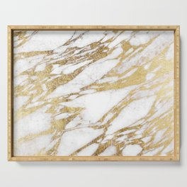 Chic Elegant White and Gold Marble Pattern Serving Tray