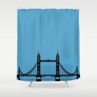 bridge Shower Curtains featuring  Bridge by Lucia C