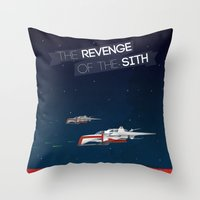 sith Throw Pillows featuring Revenge of the Sith by Clément Tholance