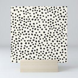 Black Decorative Dots on White, Minimalist line drawing, Modern art print with dots. Mini Art Print