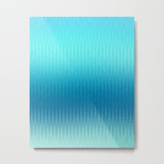 Soft ikat pattern - Blue Metal Print