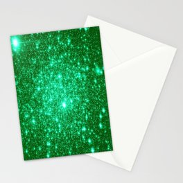 Emerald Green Glitter Stars Stationery Cards