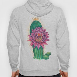 Crowned Cactus with Pink Flower Blossom Hoody
