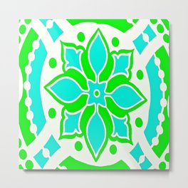 Green Blue and White Medallion Abstract Metal Print