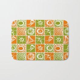 Microscopic Life Sillouetts Orange and Green Bath Mat