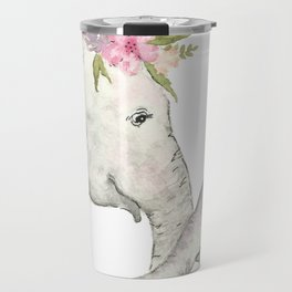 Elephant Mother and Baby Watercolor Travel Mug