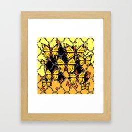 BLACK-GOLDEN YELLOW BUTTERFLIES ART Framed Art Print