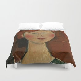 """Amedeo Modigliani """"Femme aux cheveux rouge (Woman with Red Hair)"""" Duvet Cover"""